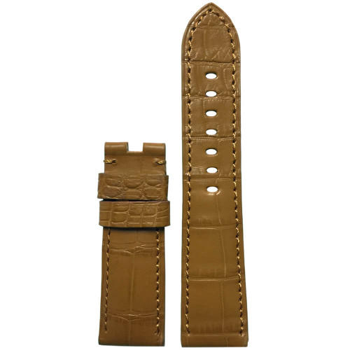 24mm Honey-Tan Matte Louisiana Alligator Watch Strap with Match Stitching for Panerai Deploy   Panatime.com