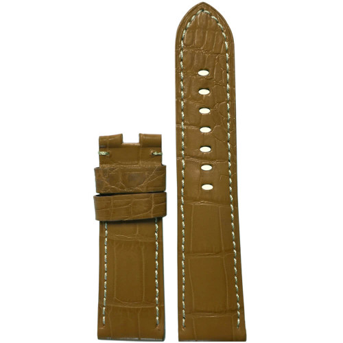22mm Honey-Tan Matte Louisiana Alligator Watch Strap with White Stitching for Panerai Deploy | Panatime.com