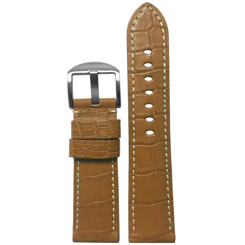 24mm Honey-Tan Matte Louisiana Alligator Skin - Padded, White Stitch | Panatime.com