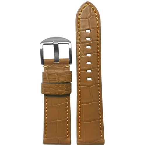 22mm Honey-Tan Matte Louisiana Alligator Skin - Padded, Match Stitch | Panatime.com