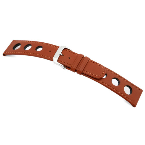 RIOS1931 Cognac Racing, Cow Leather Watch Strap with Racing Holes | Panatime.com