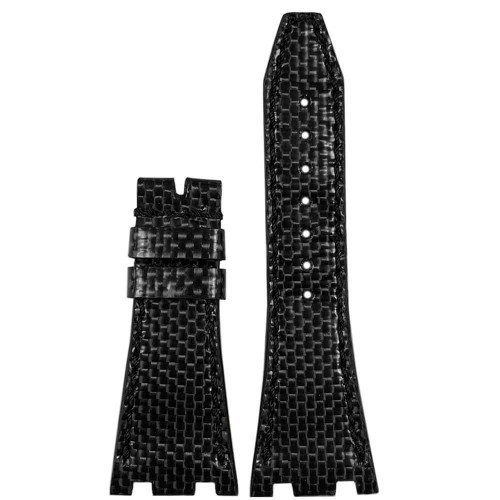 Black Carbon Fiber Watch Band with Black Stitching for 42MM AP Royal Oak Offshore | Panatime.com
