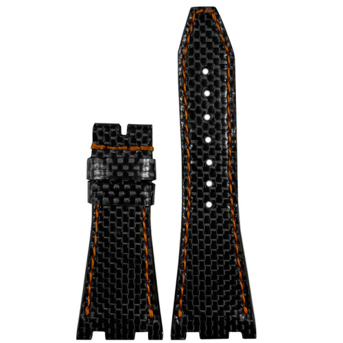 Black Carbon Fiber Watch Band with Black Stitching for 42MM AP Royal Oak Offshore   Panatime.com