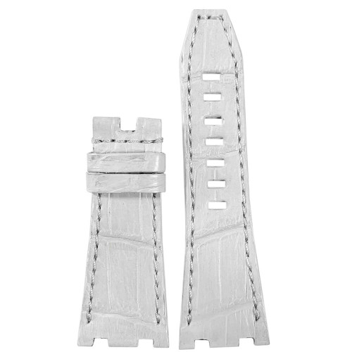 White Genuine Alligator Watch Band for 42MM AP Royal Oak Offshore | Panatime.com