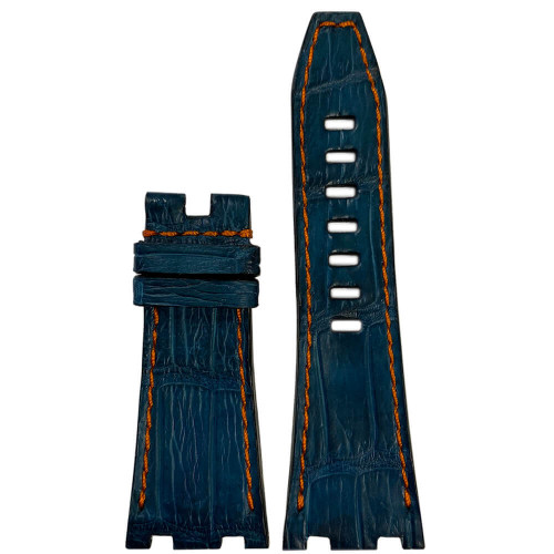 Navy Genuine Alligator Watch Band with Orange Stitching for 42MM AP Royal Oak Offshore | Panatime.com