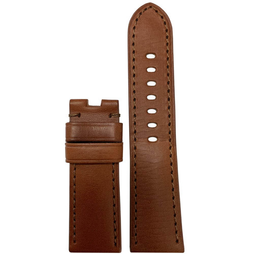 24mm Rou HZ Vintage Leather Watch Band with Match Stitching for Panerai Deploy | Panatime.com