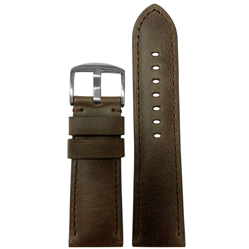 26mm Brown Distressed Vintage Leather Padded Watch Band with Match Stitching | Panatime.com