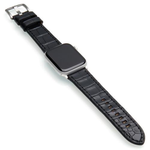 Black Genuine Alligator Watch Band For Apple Watch | Panatime.com