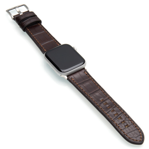Mocha Genuine Alligator Watch Band For Apple Watch | Panatime.com