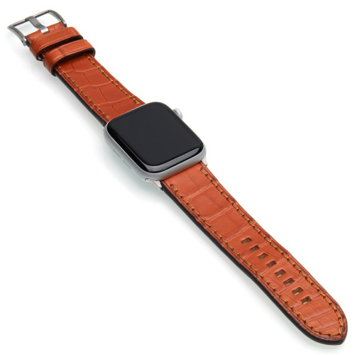 Cognac Genuine Alligator Watch Band For Apple Watch | Panatime.com
