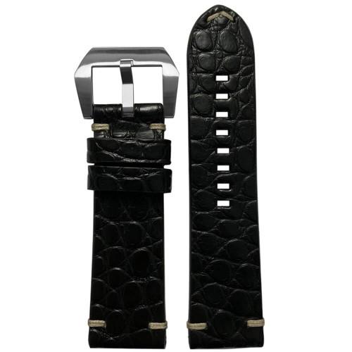 24mm Black Alligator (Flank) - Flat, Minimal Stitch