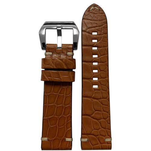 24mm Cognac Alligator (Flank) - Flat, Minimal Stitch