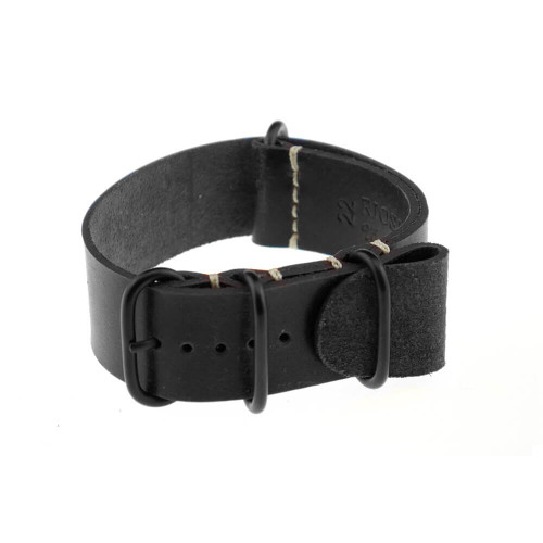 Black RIOS1931 Oslo, Genuine Vintage Leather | One-Piece Strap (4 PVD Rings)
