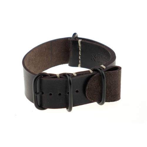 Mocha RIOS1931 Oslo, Genuine Vintage Leather | One-Piece Strap (4 PVD Rings)