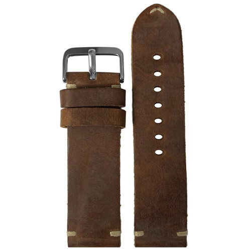 24mm (XL) Mahogany Genuine Vintage Oiled Leather Watch Strap with Minimal Creme-White Hand Stitching  | Panatime.com