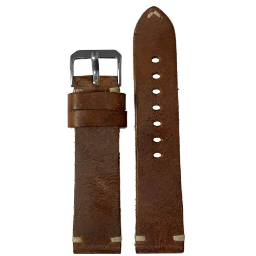 20mm Mahogany Genuine Vintage Oiled Leather Watch Strap with Minimal Creme-White Hand Stitching  | Panatime.com