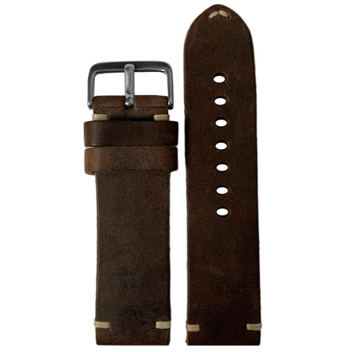 24mm (XL) Mocha Genuine Vintage Oiled Leather Watch Strap with Minimal Creme-White Hand Stitching  | Panatime.com