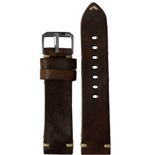 20mm (XL) Mocha Genuine Vintage Oiled Leather Watch Strap with Minimal Creme-White Hand Stitching  | Panatime.com