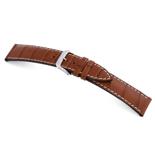 RIOS1931 Cognac New Orleans, Embossed Alligator Grain Watch Strap | Panatime.com