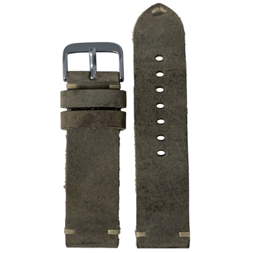 24mm (XL) Slate Genuine Vintage Oiled Leather Watch Strap with Minimal Creme-White Hand Stitching  | Panatime.com