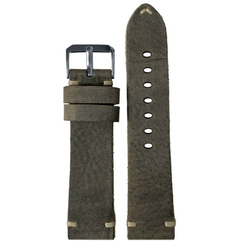 20mm (XL) Slate Genuine Vintage Oiled Leather Watch Strap with Minimal Creme-White Hand Stitching  | Panatime.com