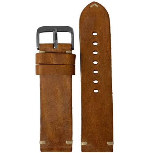 24mm (XL) Honey Genuine Vintage Oiled Leather Watch Strap with Minimal Creme-White Hand Stitching  | Panatime.com