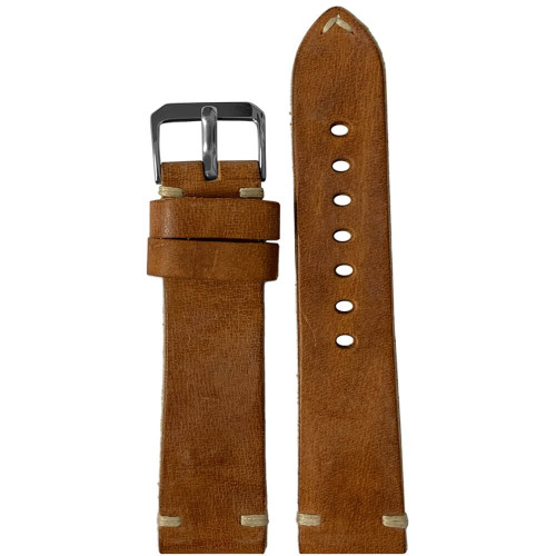 20mm (XL) Honey Genuine Vintage Oiled Leather Watch Strap with Minimal Creme-White Hand Stitching  | Panatime.com