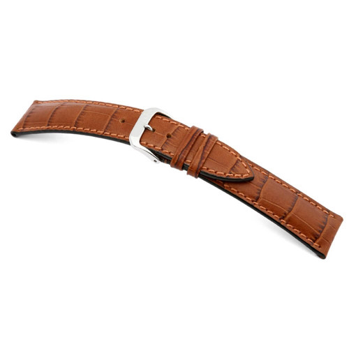RIOS1931 Cognac Louisiana, Embossed Alligator Grain Watch Strap | Panatime.com
