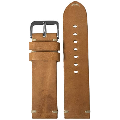 24mm (XL) Natural Genuine Vintage Oiled Leather Watch Strap with Minimal Creme-White Hand Stitching  | Panatime.com