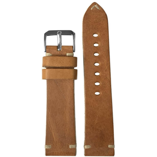 22mm (XL) Natural Genuine Vintage Oiled Leather Watch Strap with Minimal Creme-White Hand Stitching  | Panatime.com