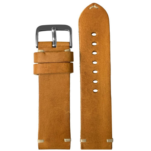 24mm (XL) Camel Genuine Vintage Oiled Leather Watch Strap with Minimal Creme-White Hand Stitching    Panatime.com