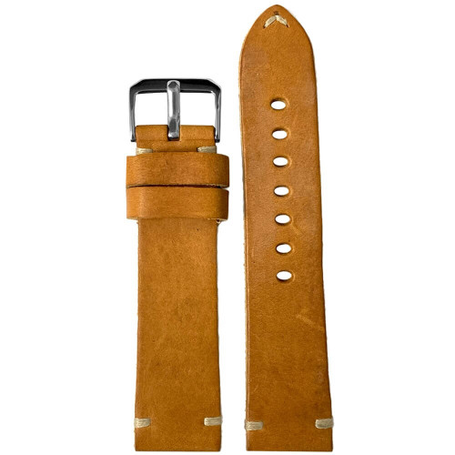 20mm (XL) Camel Genuine Vintage Oiled Leather Watch Strap with Minimal Creme-White Hand Stitching    Panatime.com