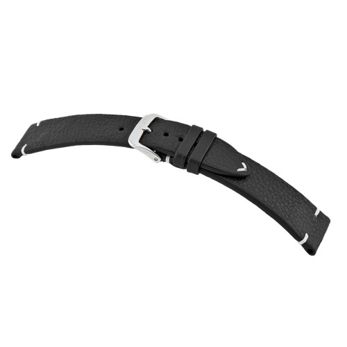 Black RIOS1931 Inzell - Certified Organic Leather Watch Band with Minimal Stitching