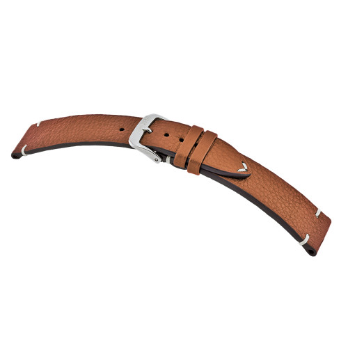 Cognac RIOS1931 Inzell - Certified Organic Leather Watch Band with Minimal Stitching
