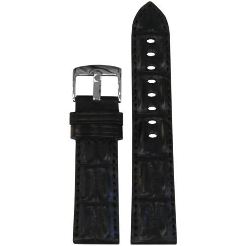 20mm Black Hornback Genuine Alligator Watch Strap with Match Stitching | Panatime.com