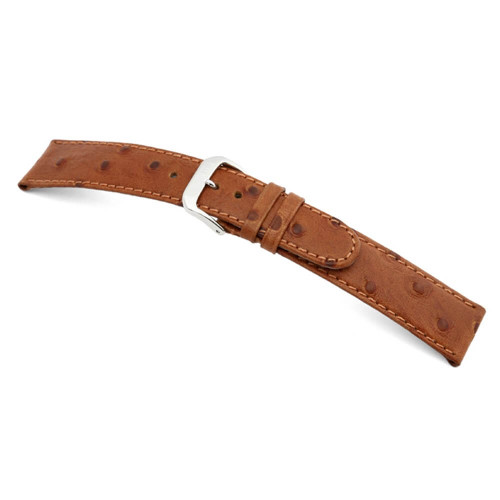 Cognac RIOS1931 Durban, Embossed Ostrich Grain Watch Band | Panatime.com