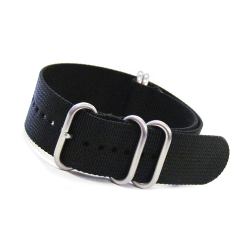 Black 5-Ring XL Ballistic Nylon Waterproof Watch Strap | Panatime.com