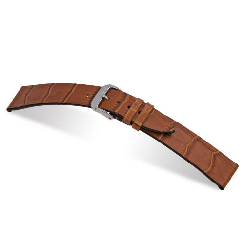 Cognac RIOS1931 Miami, Embossed Alligator Grain Leather Watch Band | Panatime.com