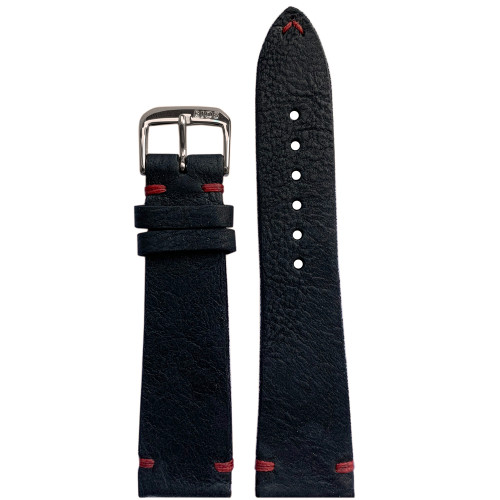 19mm Black Genuine Vintage Leather Watch Strap with Minimal Red Hand Stitching  | Panatime.com