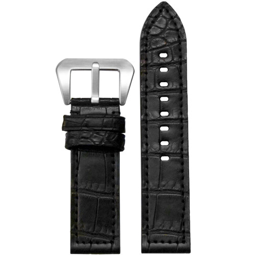 22mm Black Matte Genuine American Alligator Skin - Flat, Match Stitching | Panatime.com