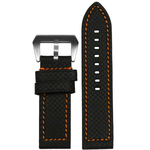 24mm Black Carbon Fiber Style Flat Coramid Style Watch Strap with Orange Stitching | Panatime.com