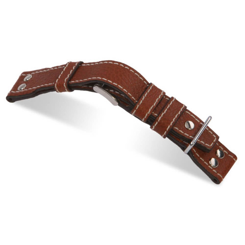 RIOS1931 Cognac Aviator, Buffalo Leather Watch Strap | Panatime.com