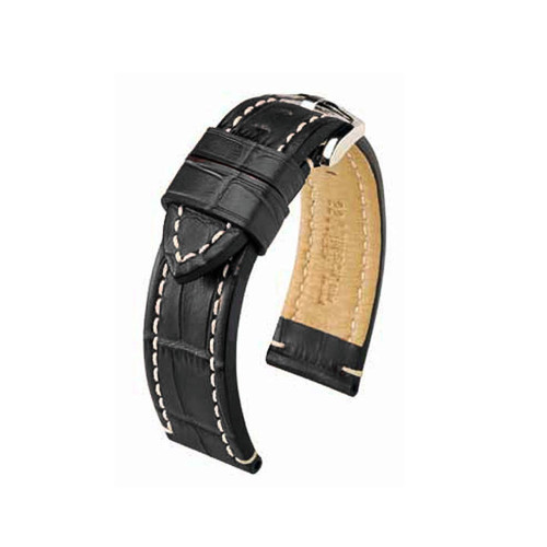 22mm Black Hirsch Knight - Embossed Italian Calfskin Watch Strap | Panatime.com