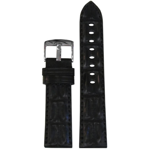 20mm Black Hornback Genuine Alligator Watch Strap with Match Stitching | Panatime.com