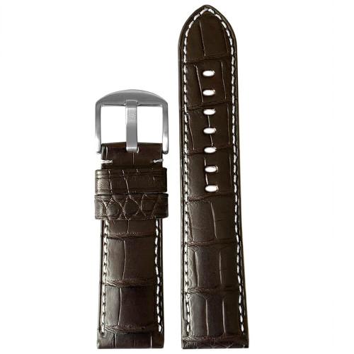 22mm Dark Brown Matte Genuine Louisiana Alligator Skin - Padded, White Stitching | Panatime.com