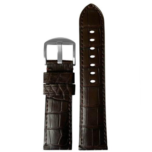 22mm Dark Brown Matte Genuine Louisiana Alligator Skin - Padded, Match Stitching | Panatime.com