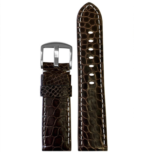 22mm Brown Genuine Louisiana Alligator Skin (Flank Cut) - Padded, White Stitching   Panatime.com