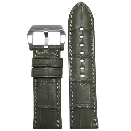 24mm Stone Grey Padded Classic Alligator Watch Strap with Match Stitching   Panatime.com
