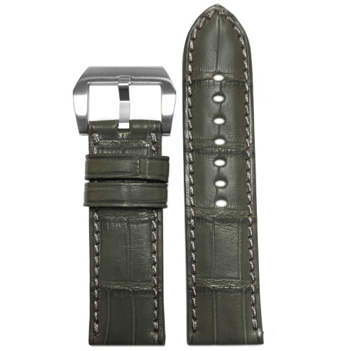 24mm Stone Grey Padded Classic Alligator Watch Strap with Match Stitching | Panatime.com
