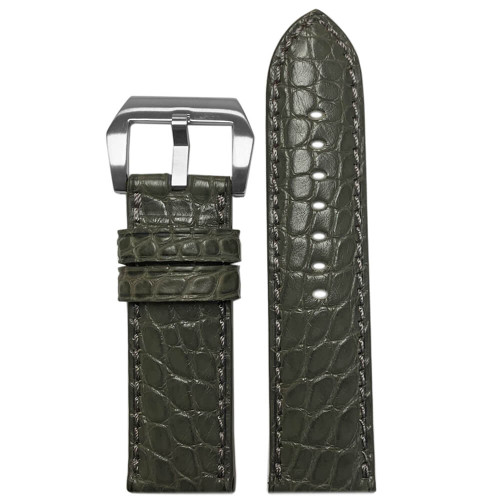 24mm Stone Grey Padded Classic Alligator, Flank Cut, Watch Strap with Match Stitching | Panatime.com
